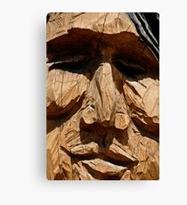 Wooden Carved Indian Statue Canvas Print