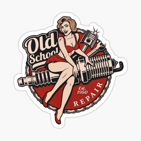 Vintage Old School Retro Pin up Girl  Sticker