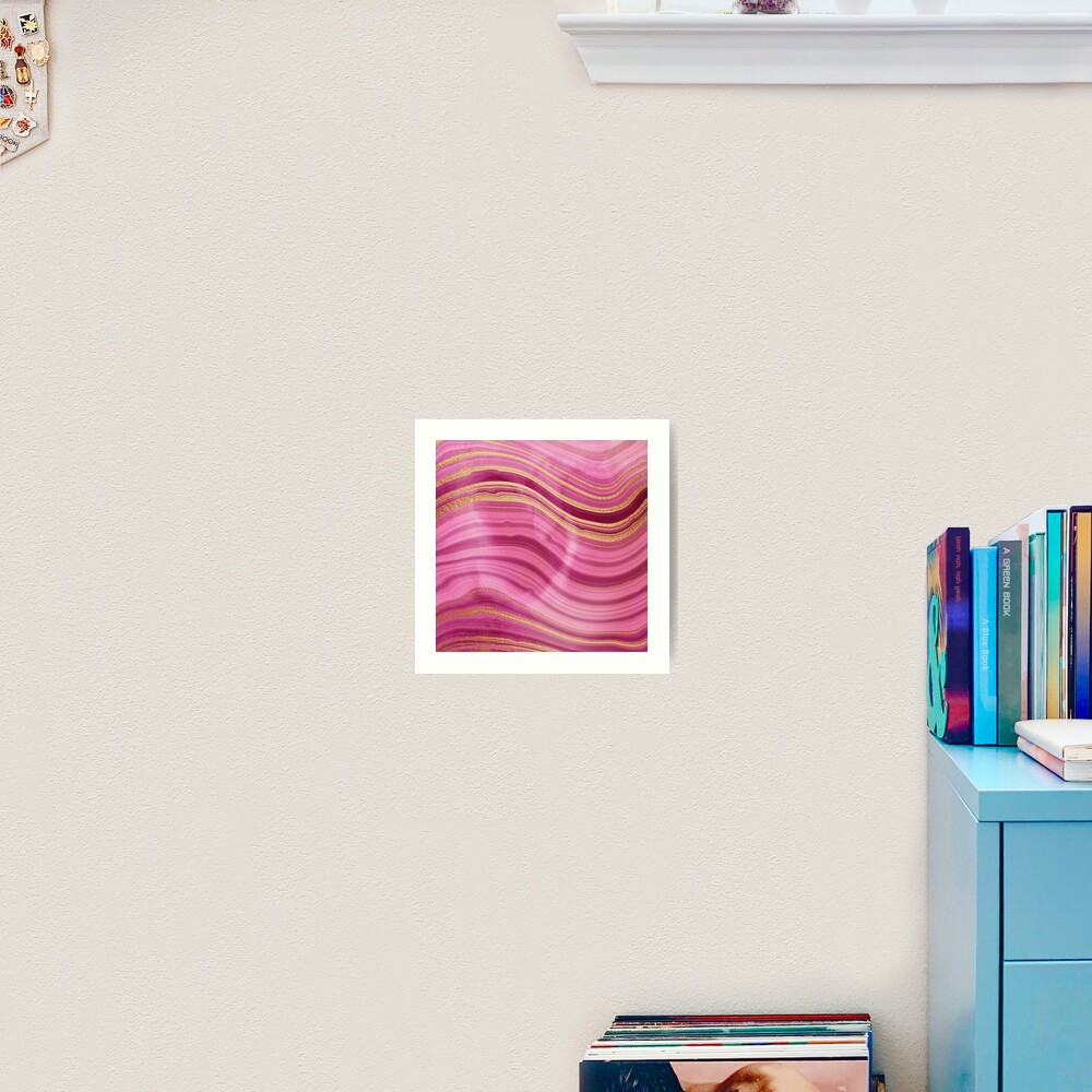 Pink Wavy Agate with Gold Stripes Art Print