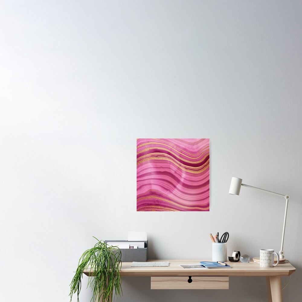 Pink Wavy Agate with Gold Stripes Poster