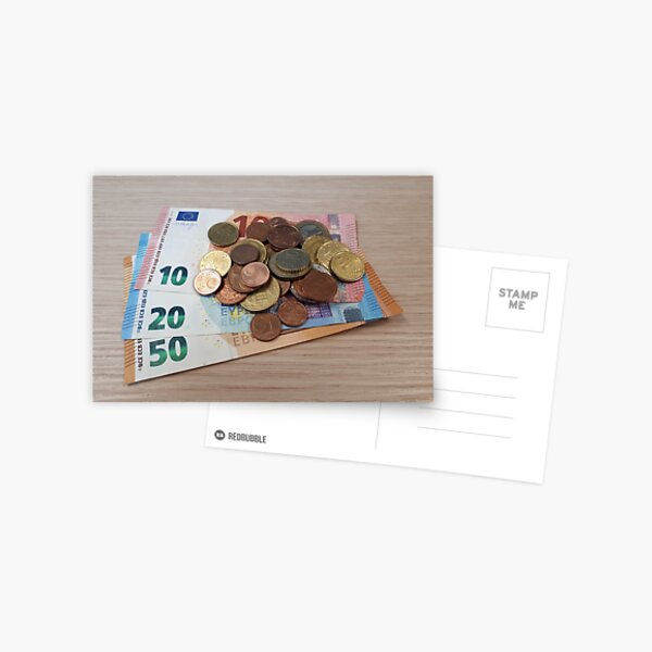 Euro Coins and Bills Postcard