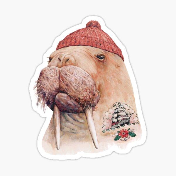 Tattooed Walrus (Red) Sticker
