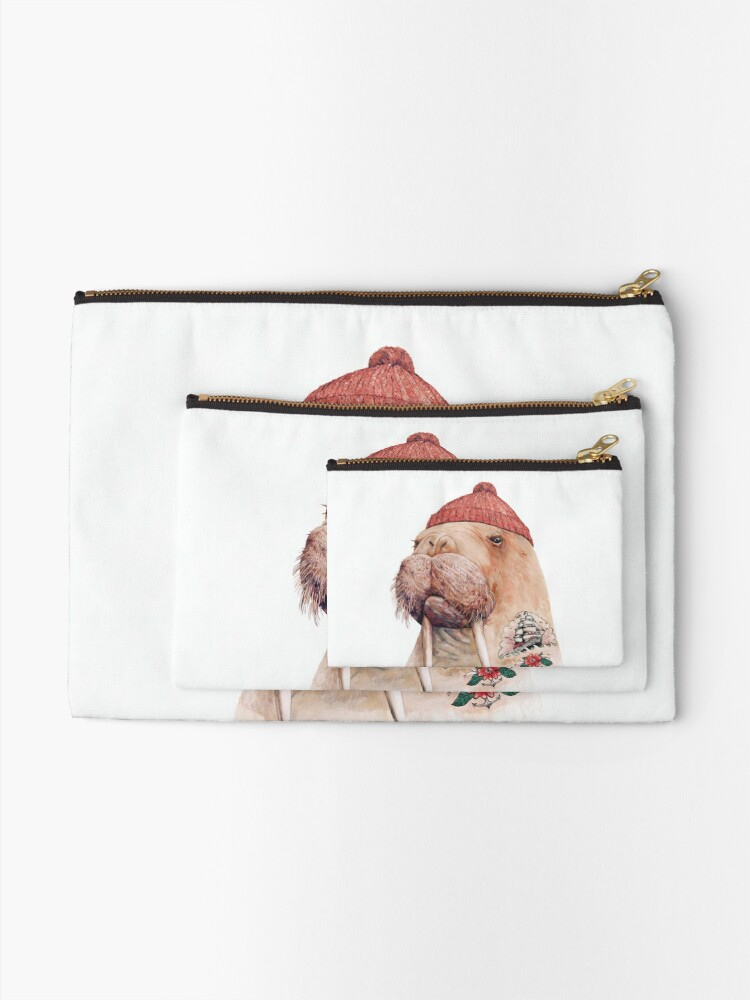 Alternate view of Tattooed Walrus (Red) Zipper Pouch