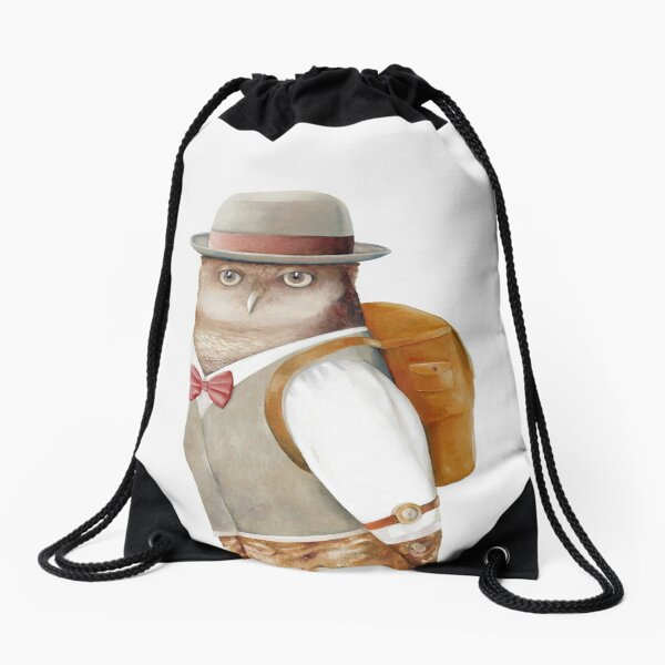 Travelling Owl Drawstring Bag
