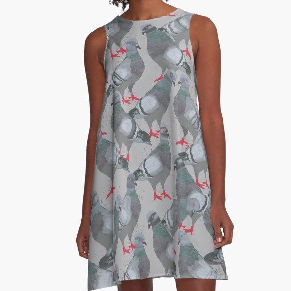 Pigeons on a City Sidewalk A-Line Dress