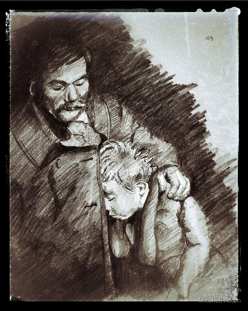 Father and Son Resting by Mitchell Aiken
