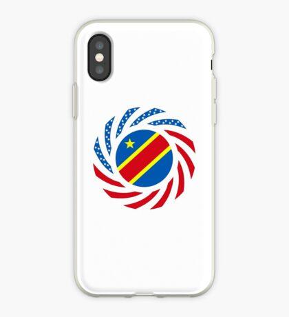 Congolese American (Democratic Republic) Multinational Patriot Flag Series iPhone Case