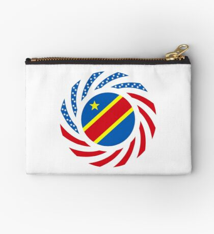 Congolese American (Democratic Republic) Multinational Patriot Flag Series Zipper Pouch