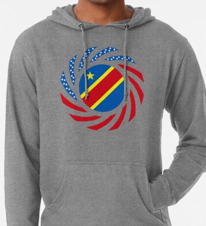Congolese American (Democratic Republic) Multinational Patriot Flag Series Lightweight Hoodie