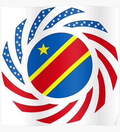 Congolese American (Democratic Republic) Multinational Patriot Flag Series Poster