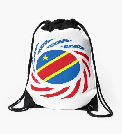 Congolese American (Democratic Republic) Multinational Patriot Flag Series Drawstring Bag
