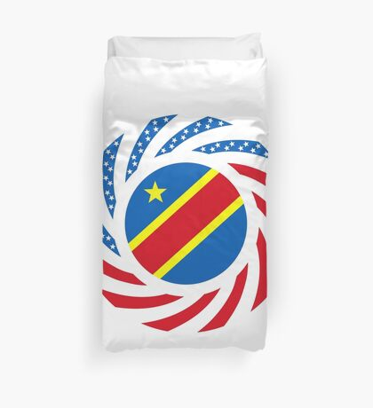 Congolese American (Democratic Republic) Multinational Patriot Flag Series Duvet Cover