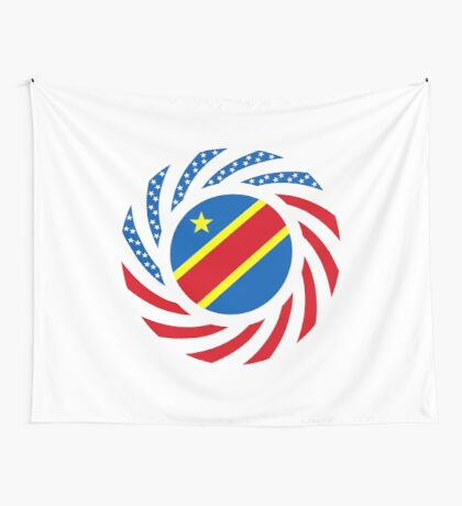 Congolese American (Democratic Republic) Multinational Patriot Flag Series Wall Tapestry