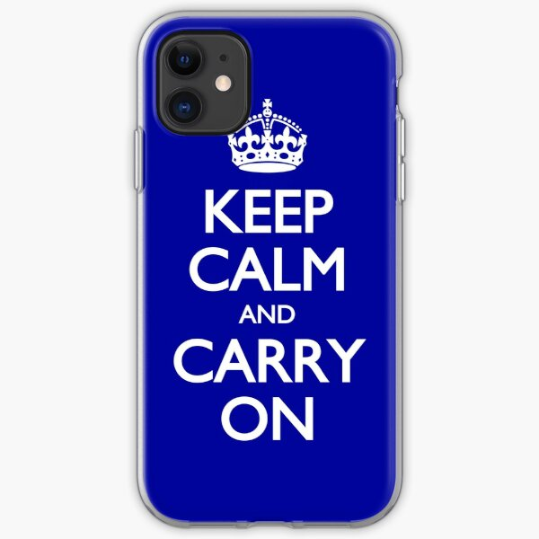 Keep Calm And Carry On Blue Motivational Poster  iPhone Soft Case