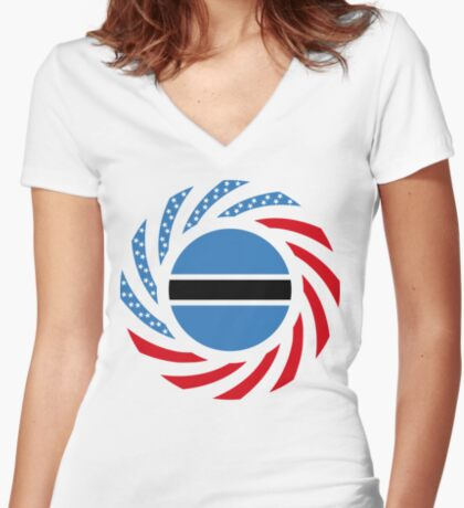Botswana American Multinational Patriot Flag Series Fitted V-Neck T-Shirt