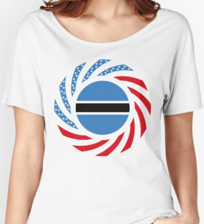Botswana American Multinational Patriot Flag Series Relaxed Fit T-Shirt