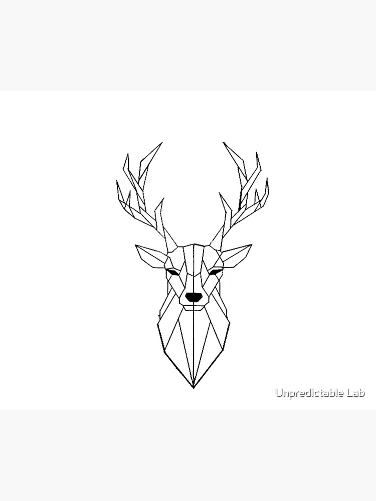 Geometric Deer I Low Poly I Line Art I Drawing Greeting Card By Decolab Redbubble