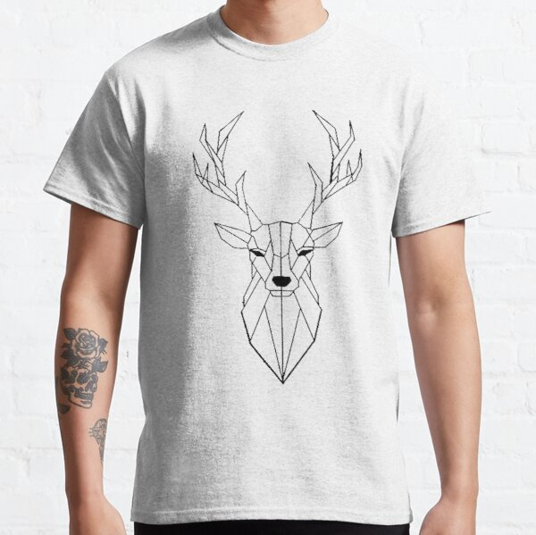 Ciervo Geometrico I low poly I line art I dibujo Camiseta clásica