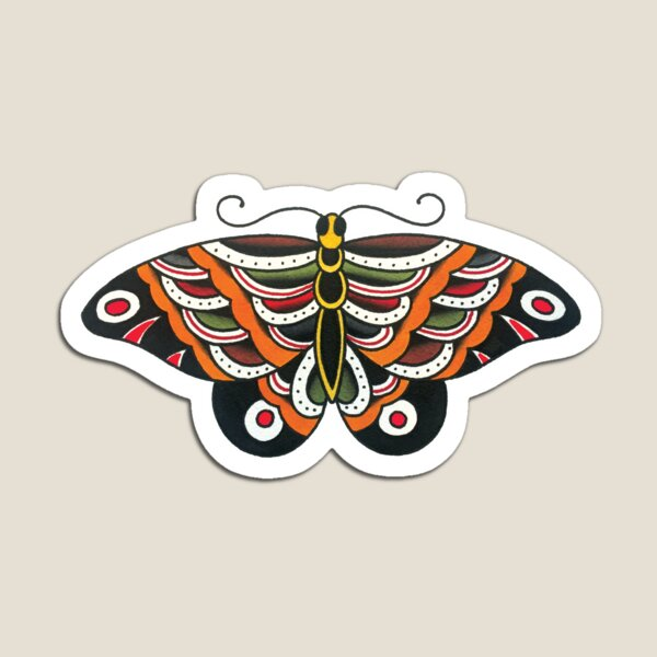 Traditional Large Butterfly Tattoo Design Magnet