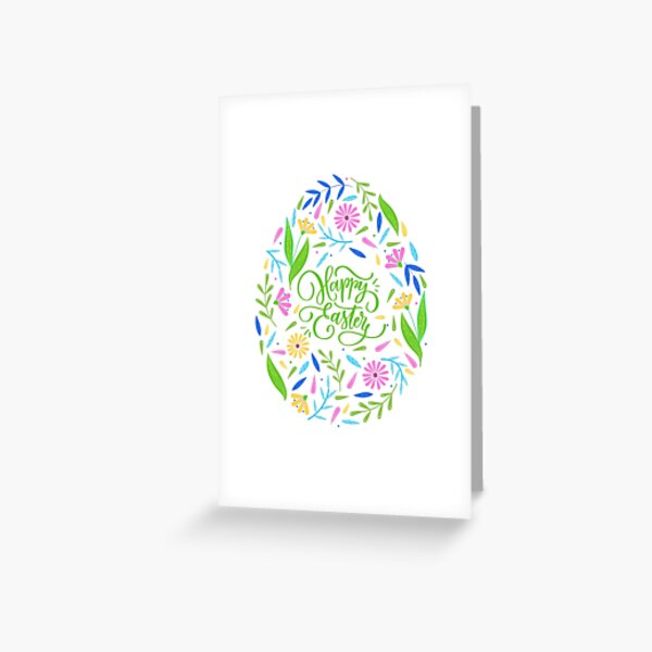 Happy easter floral egg- typography Greeting Card
