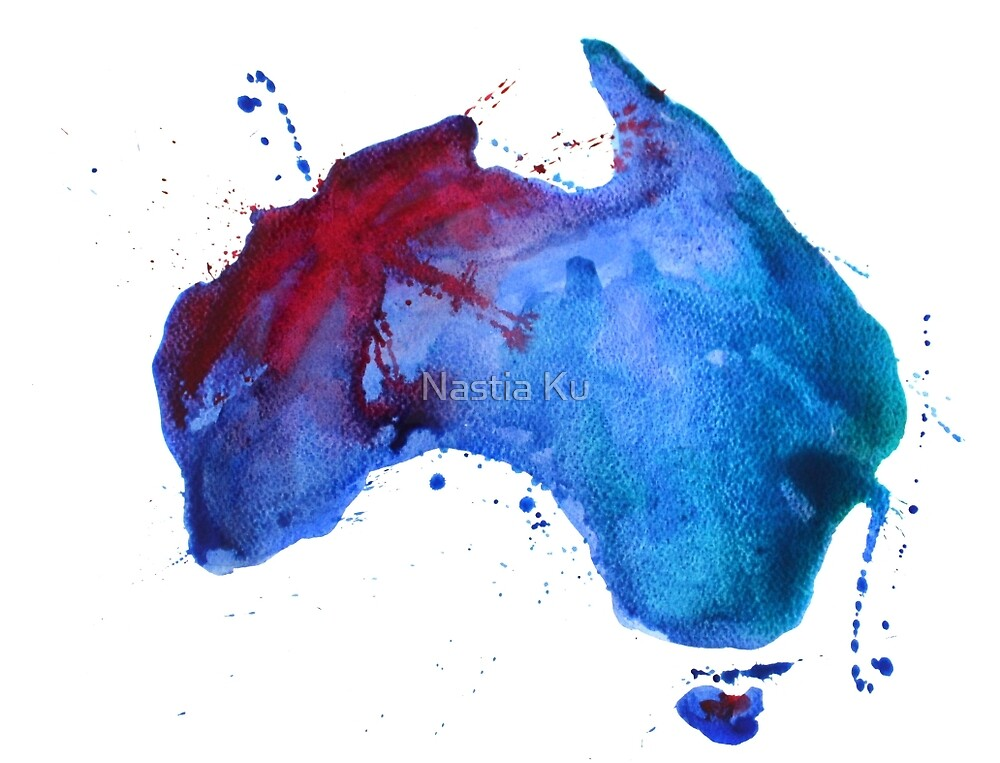 Watercolor map of Australia by ychty