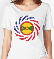 Grenadian American Multinational Patriot Flag Series Relaxed Fit T-Shirt