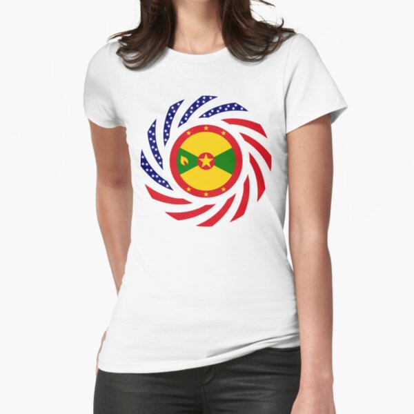 Grenadian American Multinational Patriot Flag Series Fitted T-Shirt