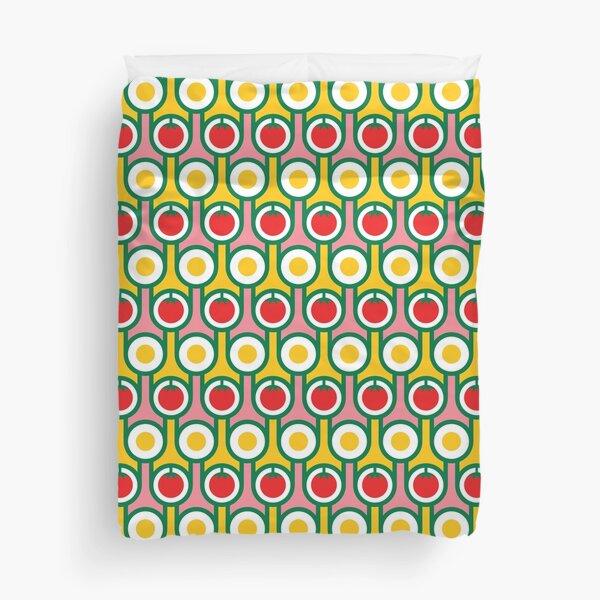 Scandi Midcentury Modern Retro Geometric Eggs Tomatoes Pattern Duvet Cover