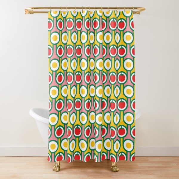 Scandi Midcentury Modern Retro Geometric Eggs Tomatoes Pattern Shower Curtain
