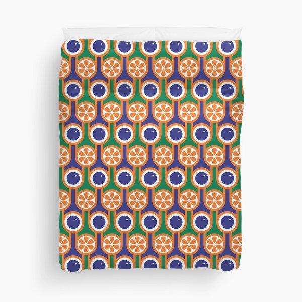 Scandi Midcentury Modern Retro Geometric Blueberries Oranges Pattern Duvet Cover