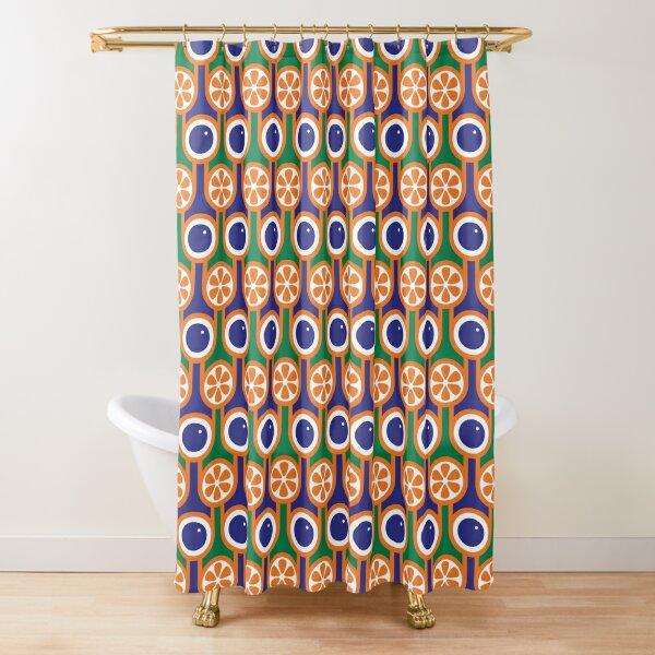 Scandi Midcentury Modern Retro Geometric Blueberries Oranges Pattern Shower Curtain