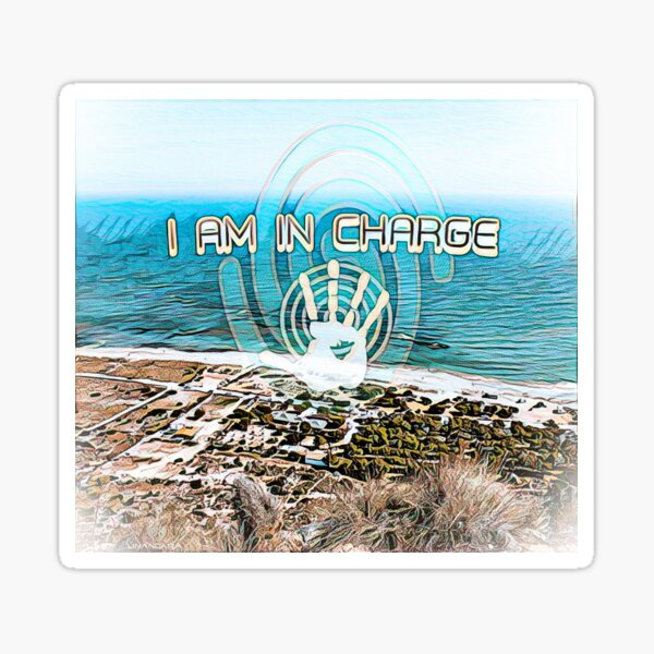 I am in charge - with sea, beach, spiral and a handprint Sticker
