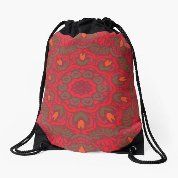 Orange Dream Floral Mandala Drawstring Bag