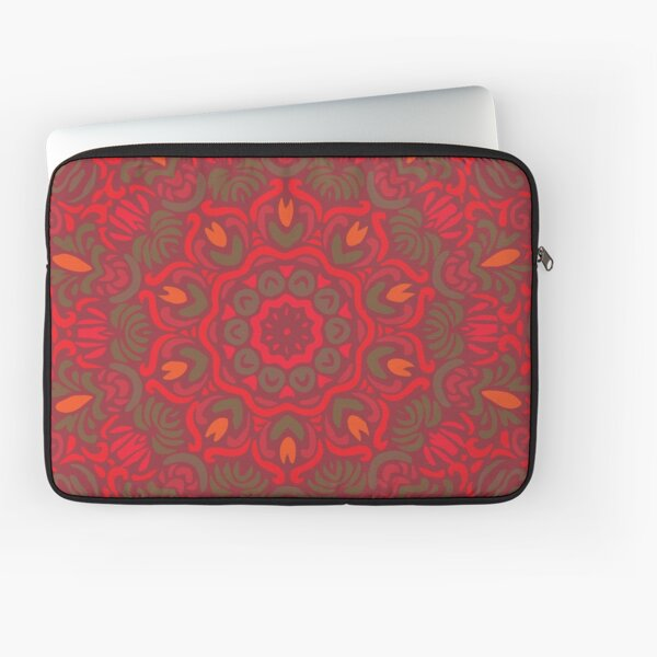 Orange Dream Floral Mandala Laptop Sleeve