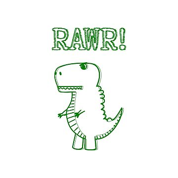 Cute And Angry Green Dinosaurs Drawing by Almdrs