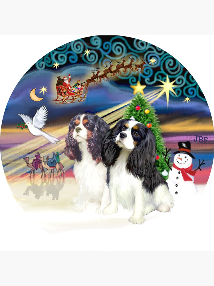 Christmas Magic with Two Tri Color Cavalier King Charles Spaniels by JeanBFitzgerald