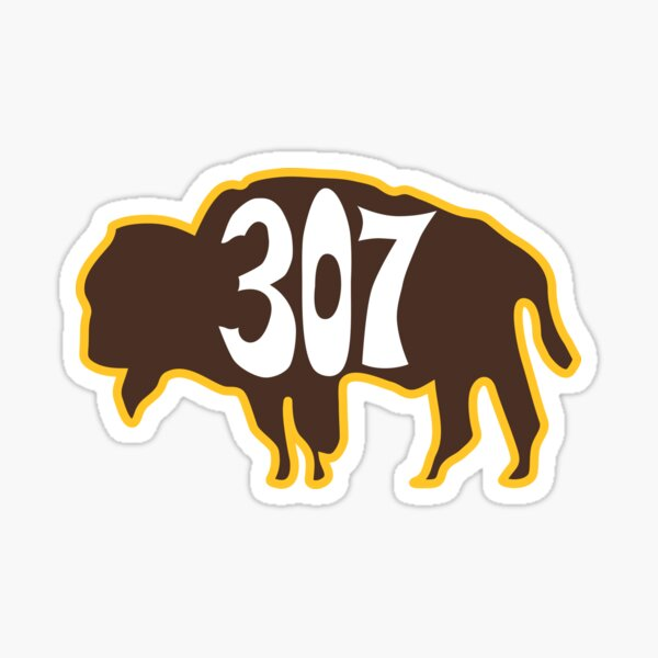 Hand Drawn Wyoming Buffalo 307 Brown Gold Sticker