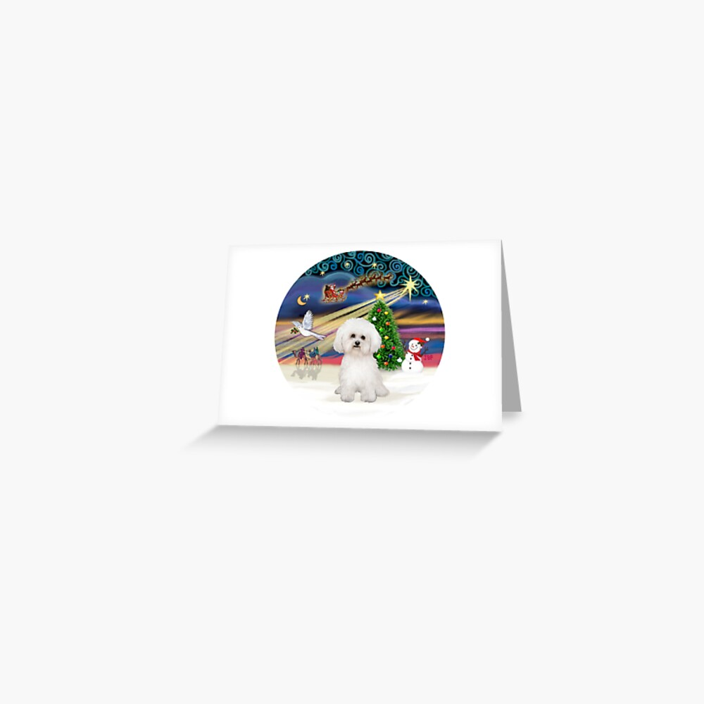 Christmas Magic with a Bichon Frise (#2) Greeting Card