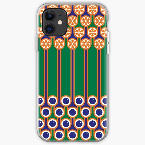 Scandi Midcentury Modern Retro Geometric Blueberries Oranges Stripey Pattern iPhone Soft Case