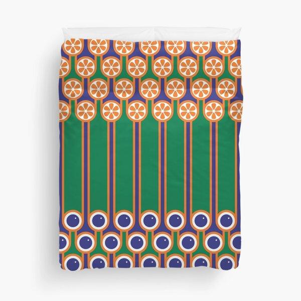 Scandi Midcentury Modern Retro Geometric Blueberries Oranges Stripey Pattern Duvet Cover