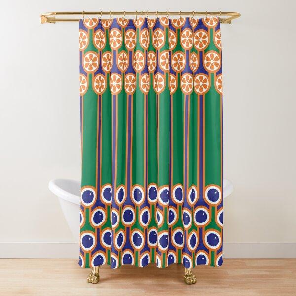 Scandi Midcentury Modern Retro Geometric Blueberries Oranges Stripey Pattern Shower Curtain