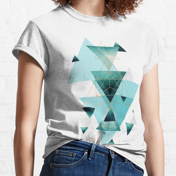 Geometric Triangle Compilation in teal, aqua and rose gold Classic T-Shirt