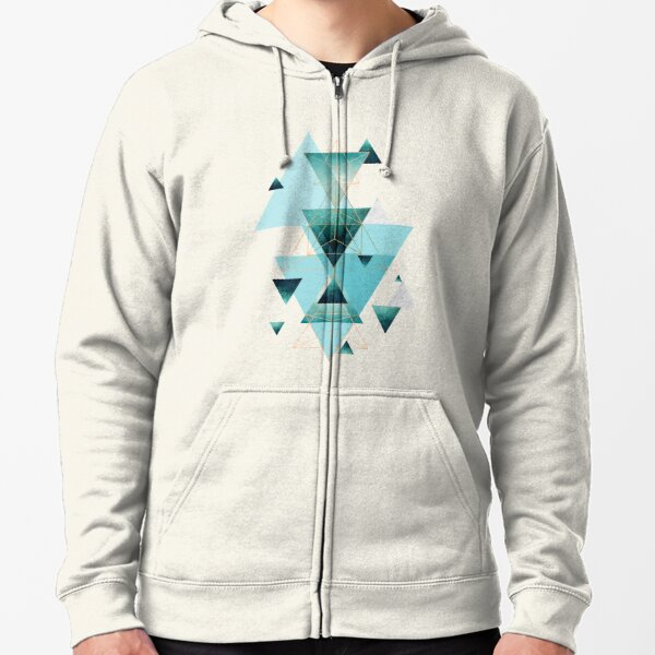 Geometric Triangle Compilation in teal, aqua and rose gold Zipped Hoodie