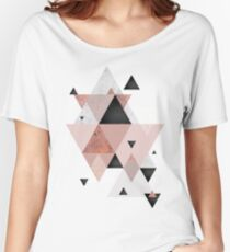 Geometric Compilation in Rose Gold and Blush Pink Women's Relaxed Fit T-Shirt