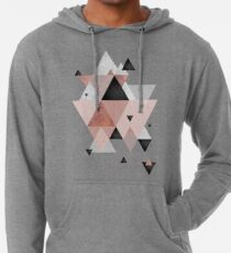 Geometric Compilation in Rose Gold and Blush Pink Lightweight Hoodie