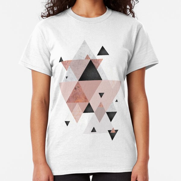 Geometric Compilation in Rose Gold and Blush Pink Classic T-Shirt
