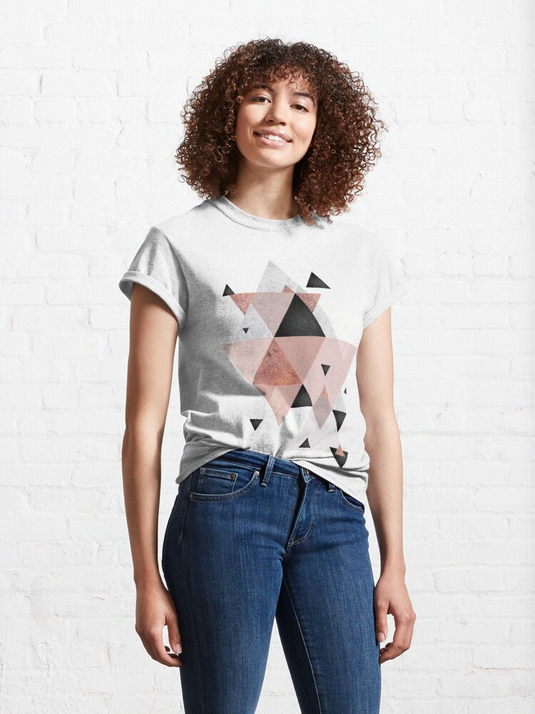 Alternate view of Geometric Compilation in Rose Gold and Blush Pink Classic T-Shirt