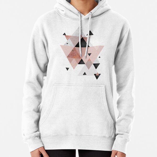 Geometric Compilation in Rose Gold and Blush Pink Pullover Hoodie