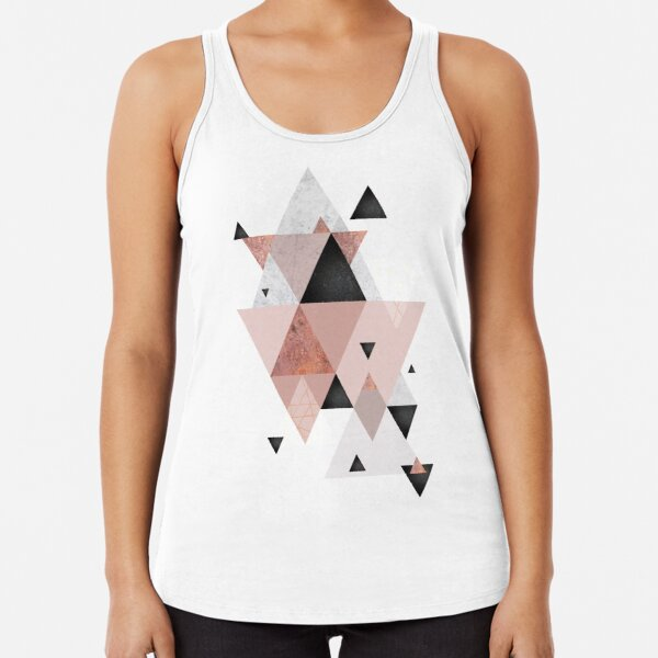 Geometric Compilation in Rose Gold and Blush Pink Racerback Tank Top