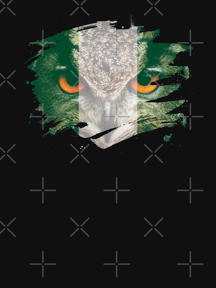 Nigeria Flag and Menacing Owl by ockshirts